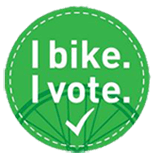 I Bike I Vote Pin Transparent 160