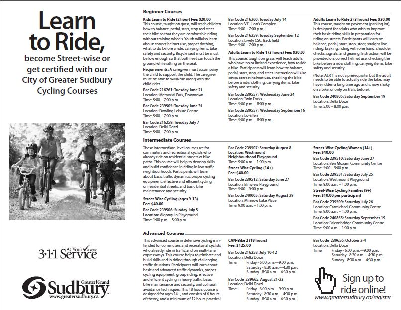 Cycling Courses Flyer